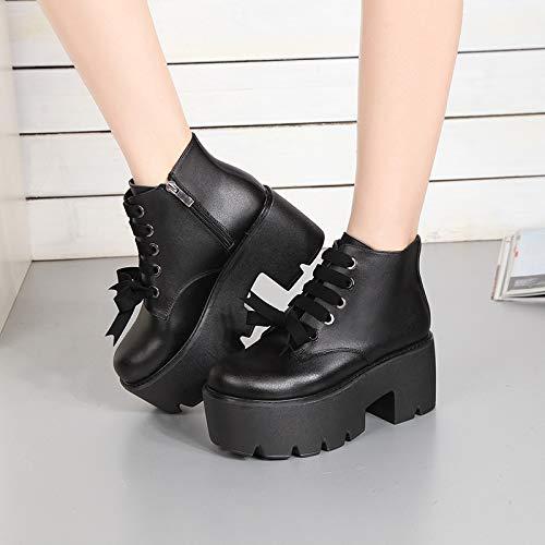 Shukun Stiefeletten Mode Martin Stiefel mit High-Top-Stiefel PU Mode Komfort erhöht einfache Mode PU Herbst und Winter warm a07908
