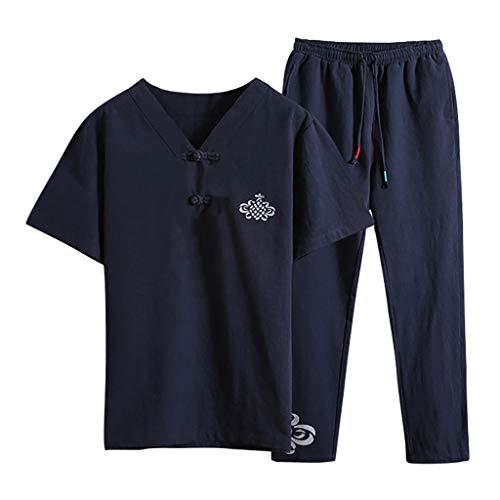 Kaister Men's Short Sleeve Jumpsuit Overalls Pants Suit Summer Fashion Casual Print Cotton Hemp -
