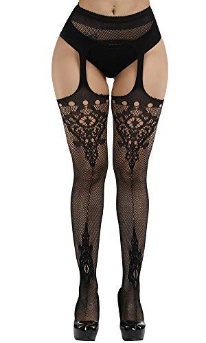 Style Suspender Pantyhose (Womens High Waist Fishnet Tights Suspenders Pantyhose Thigh High Stockings Black (Black_A9))