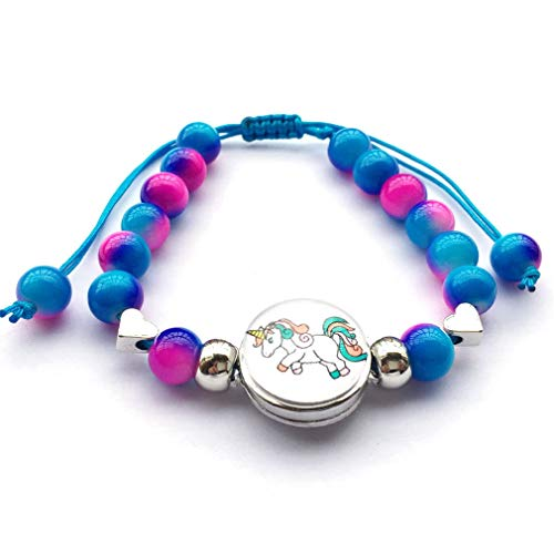 DOLON 8mm Twotone Glass Pearl Beaded Braid Snap Charm Running Unicorn Bracelets Jewelry Birthday Gift-Turquoise