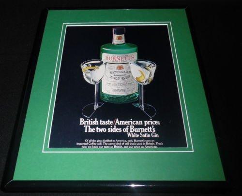 Burnetts Gin - 1979 Burnett's Dry Gin 11x14 Framed ORIGINAL Vintage Advertisement