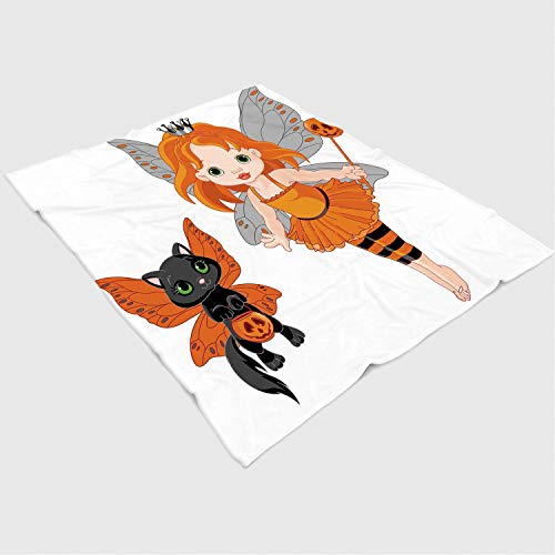 Soft Beautiful Throw Blanket Custom Design Cozy Fleece Blanket Perfect for Couch Sofa or Bed/49x78 inches/Halloween,Halloween Baby Fairy and Her Cat in Costumes Butterflies Girls Kids Room Decor Decor