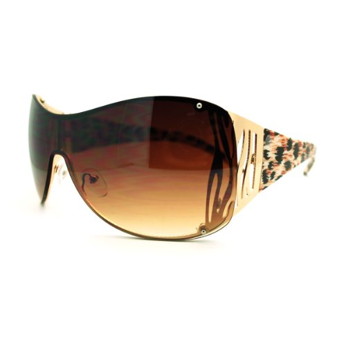 Oversized Shield Sunglasses Womens Trendy Sexy Animal Prints Gold Leopard