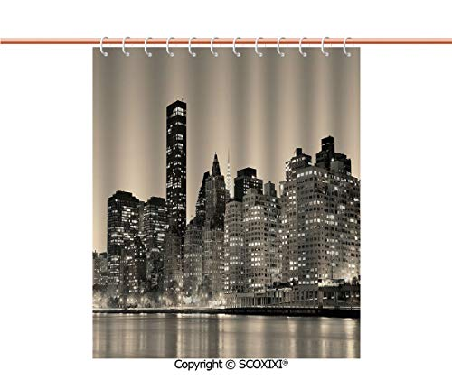 SCOXIXI Shower Curtain,Polyester Fabric,Manhattan Skyline at Night East River Panoramic Famous City Urban Life in USA Decorative,W72XL72 Inches