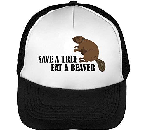 Snapback Hombre Beisbol Negro Save Gorras Eat Beaver Blanco Tree xHYqIXR