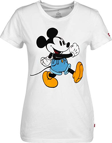 Levi's Mickey The Walking T Mouse Blanc shirt Femme X Perfect PPqFRw