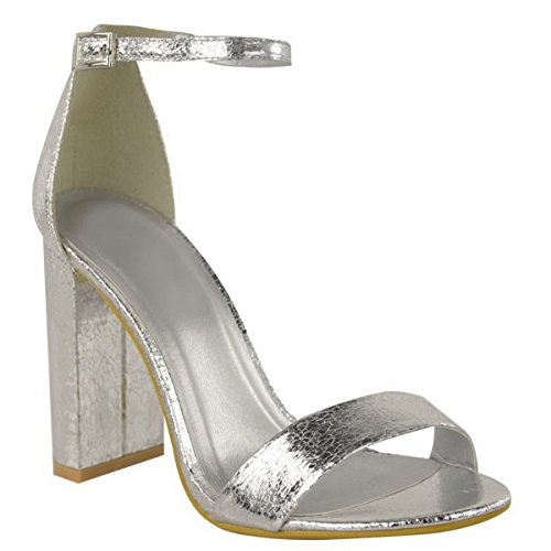 Heel New Size Silver Paty Donna Caviglia Womens Uk Prom Cinturino Block Open Evening Toe Image There Metallic Sandals Peep Alla Shoes Crinkle Barely Miss Iw8qCWR8
