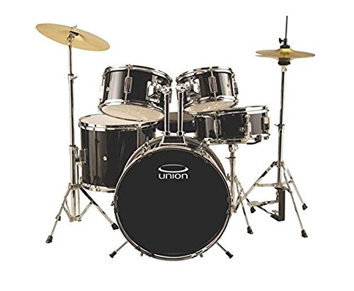 Union DBJ5052(BK) 5-Piece Junior Drum Set with Hardware, Cymbal and Throne – Black