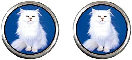 GiftJewelryShop Silver Plated White Fluffy Cat Photo Stud Earrings 10mm Diameter