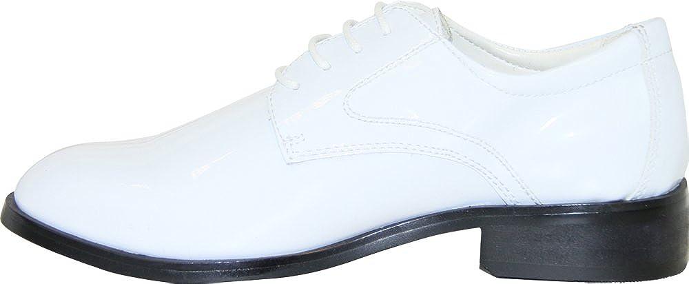 VANGELO Boy Tuxedo Shoe TAB Patent Dress Shoe Oxford Style Wrinke Free Materials White Patent 6M US Big Kid