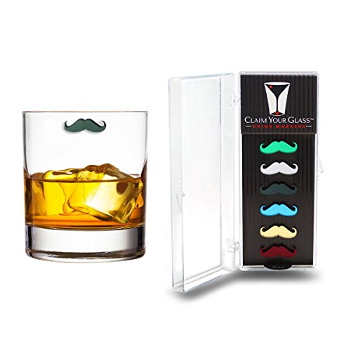 CURLY MUSTACHES Magnetic Wine Glass Charms (Set of 6) by Claim Your Glass - Premium Drink Markers for Wine, Champagne, Beer, Cocktail Glasses - Includes Storage Case + Spare - Curly Glasses