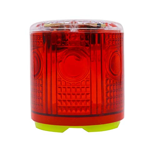 Aolyty Solar Strobe Warning Light Strong Magnetic Base Flashing Super Bright 360 Degree Wireless Automatically Turn On Waterproof for Construction Traffic Factory (Red)