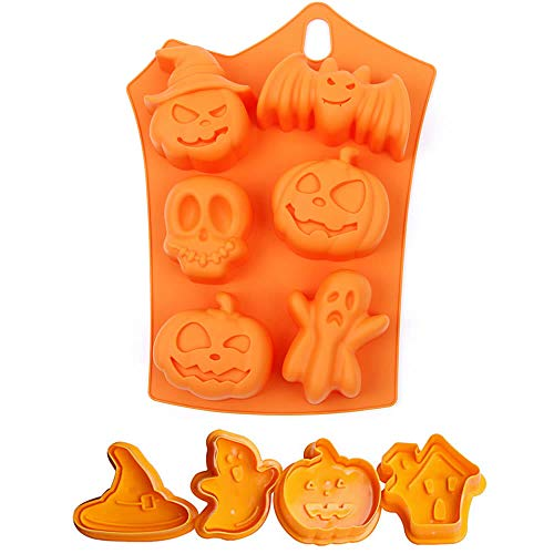 ISKYBOB Halloween Ghost Pumpkin Baking Mold Set,Silicone Mold & Plastic Cookie Plunger Cutter ()