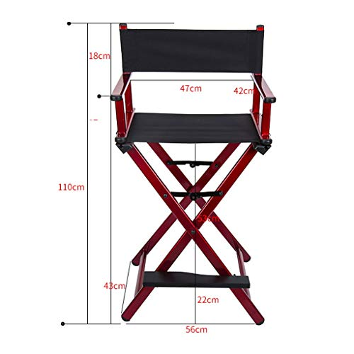 VAIY Red Wine Portable High Chair Aluminum Alloy Folding Makeup Chair Director Chair Director Leatherette Office Chair