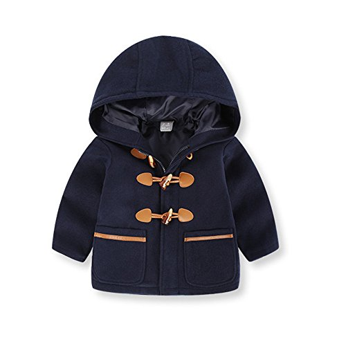 Birdfly Toddler Unisex Baby Zip Up Hooded Toggle Jacket Classic Uniform Coat Outwear Hand Pockets Kids Fall Winter Clothes (5T, Navy) (Weather All Bunting)