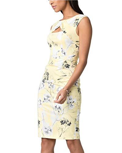 LE CHÂTEAU Women's Floral Print Stretch Poplin Sheath Dress,M,Yellow/White ()