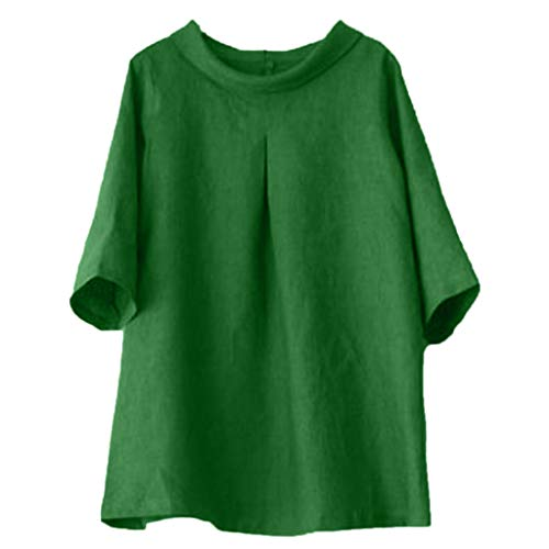 (Tantisy ♣↭♣ Women's Cotton Linen Tops Short Sleeve High Neck Blouse Casual Loose T Shirt Solid Color Retro Blouse/S-3XL Green)
