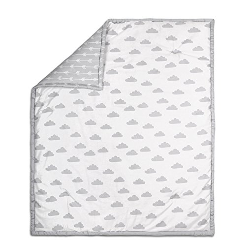 Grey on White Cloud Design Baby Crib Quilt by The Peanut Shell from The Peanut Shell