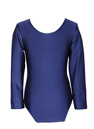 Child Girls Leotard Sleeved Stretchy Dance Gymnastics Ballet Sports Uniform Top (Navy, 30 ( 9 - 10 Years)) by REAL LIFE FASHION LTD by REAL LIFE FASHION LTD