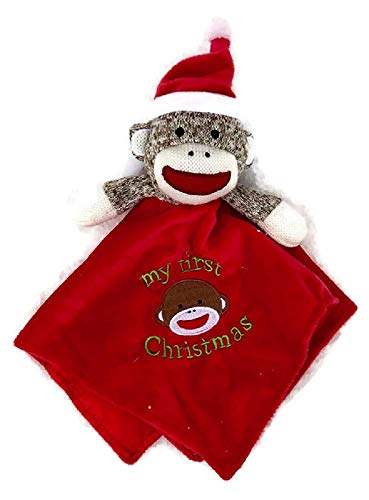 Baby Starters Sock Monkey My First Christmas Red Security Blanket ()