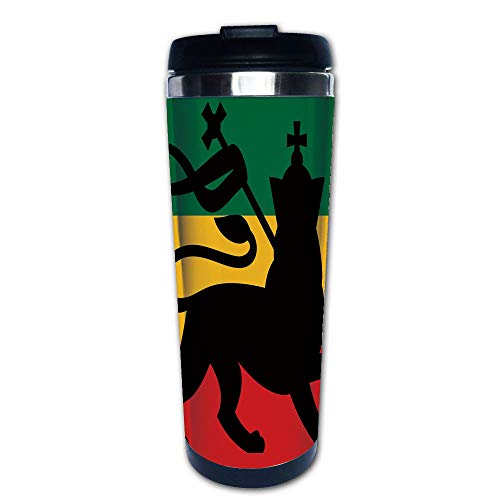 Stainless Steel Insulated Coffee Travel Mug,Lion on Reggae Music Inspired Decor Image,Spill Proof Flip Lid Insulated Coffee cup Keeps Hot or Cold 13.6oz(400 ml) Customizable printing -