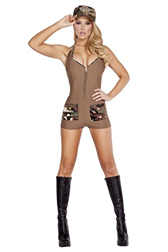 Roma Costume Women's 2 Piece Sultry Soldier, Brown, Small/Medium (Sexy Soldier Costumes)