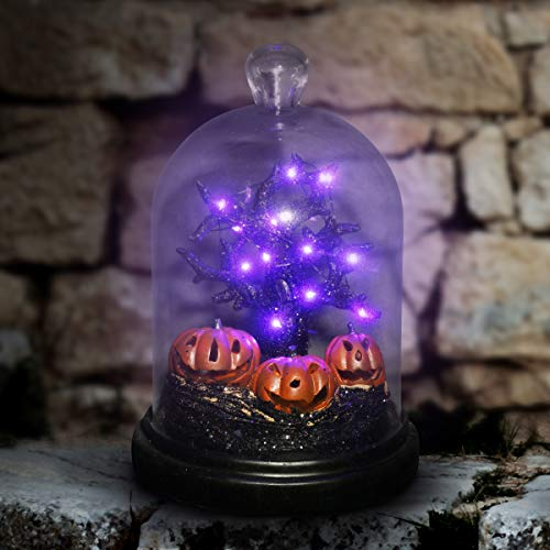 Exhart Hanging Tree and Pumpkins Under Glass, Halloween Statue, Battery Operated, Purple LED -