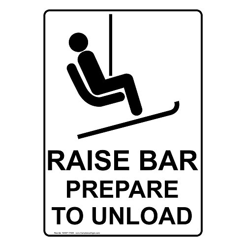 ComplianceSigns Vertical Aluminum Raise Bar Prepare To Unload Sign, 14 x 10 in. with English Text and Symbol, White by ComplianceSigns