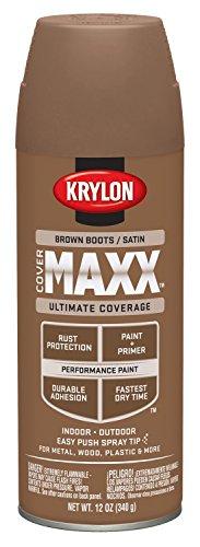 Krylon Satin Touch Spray - Krylon K09160000 COVERMAXX Spray Paint, Satin Brown Boots, 12 Ounce