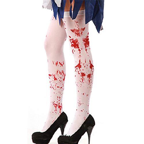 Halloween Erwachsene Blut Halterlose Str/ümpfe Frauen Hohe Socken Cosplay Make-up Requisiten 1 Paar