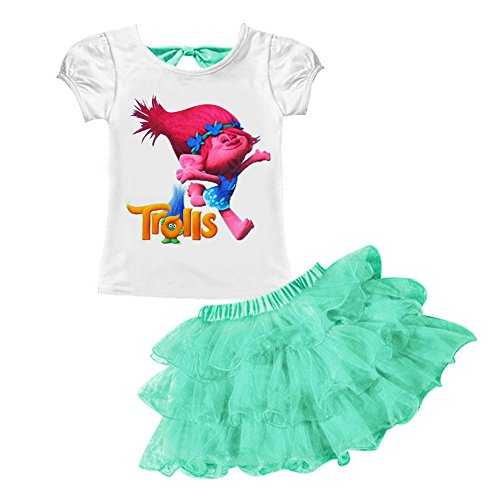 Price comparison product image AOVCLKID Trolls Little Girls' 2Pcs Suit Cartoon Shirt and Skirt Set (120/4-5Y, Light Green)
