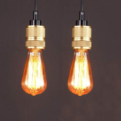TheMonday E27 Metal Pendant Lamp Fixture Retro Industrial Edison Hanging Lights Height-Adjustable Ceiling Chandelier for Bar Restaurant Supermarket Pub Cafe Indoor Decor Lighting (Size : 2Pcs)