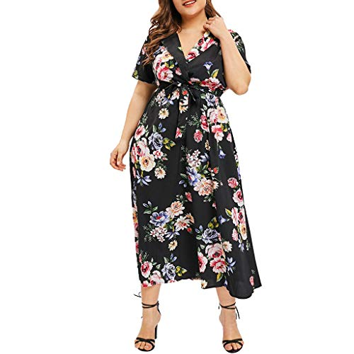 - Opinionated Women's Short Sleeves Printed Wrap V Neck Belted Empire Waist Asymmetrical High Low Bohemian Party Maxi Dress Black