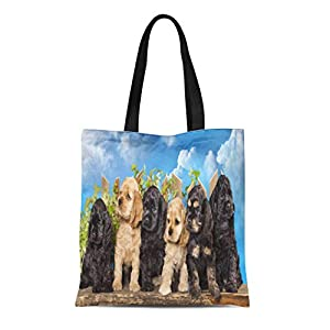 Semtomn Cotton Canvas Tote Bag Brown Puppy Family American Cocker Spaniel Dogs Funny Litter Reusable Shoulder Grocery Shopping Bags Handbag Printed 11