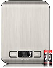 Ultrean Digital Food Scale, High Precision Kitchen Scale, Measures in Grams and Ounces for Cooking and Baking, 5 Units with Tare Function, Stainless Surface (Batteries Included)