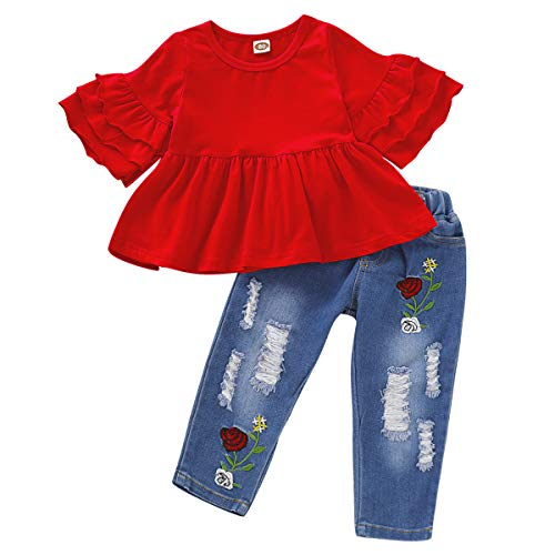 Baby Girl Clothes 2PCS Ruffle Outfits Short Sleeve Shirt Tops+Floral Denim Pants Ripped Jeans for Girls 1-4T Red