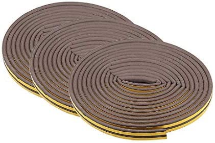 5 meters long brown Foam Tape Adhesive Weather Stripping 9 mm wide 6 mm thick 6 pieces