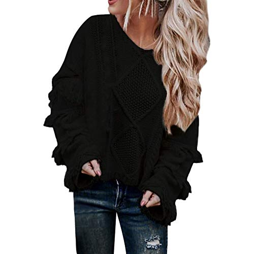 Womens Off The Shoulder Sweater Casual Knitted Loose Long Sleeve Pullover ()