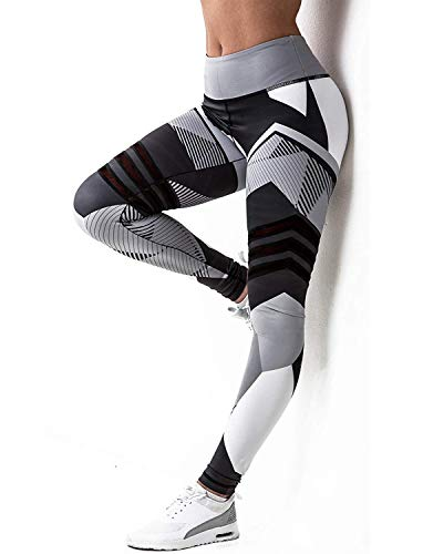 HISMIS Women 3D Geometric Printed High Waist Slimming Compression Yoga Pants Leggings Waistband Workout Running Sports Fitness Gym Tights Grey