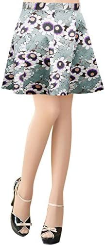 jntworld Women Printed Prom Full Short A-line Skirt in Co-Ordinate Texture with Zipper
