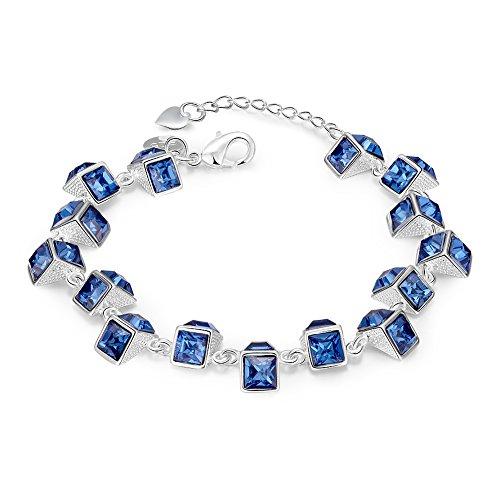 Mealove Gorgeous Blue Square Shape Gemstone Silver Bracelet
