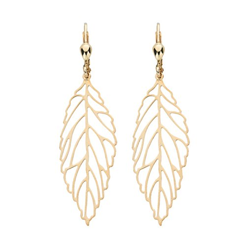 9 ct or jaune Fancy Feuille Pendants d'oreilles 2.0 G