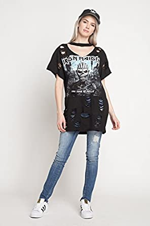 f6ff6e9d5667 Iron Maiden T-Shirt Oversized Distressed Ripped with Holes T Shirt Dress T  Shirt Short Sleeve Cut Out Neck - Black -  Amazon.co.uk  Clothing