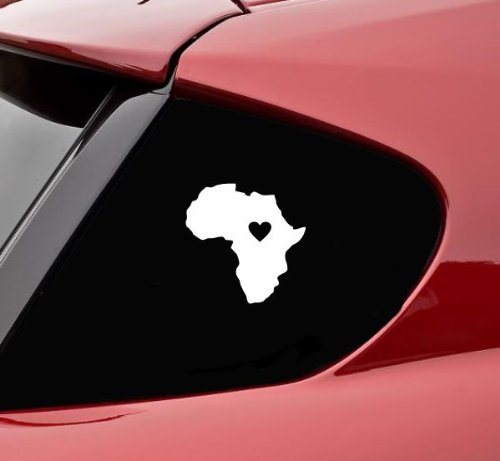 (Africa with heart vinyl decal bumper sticker)