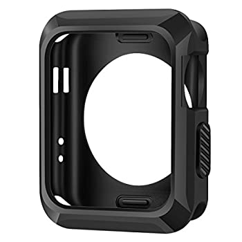 Apple Watch Case, iitee 42mm Universal Slim Rugged Protective TPU iWatch Case for Apple Watch Series 2 Series 1 -Matte Black
