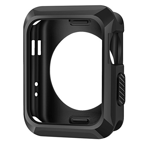 iitee Apple Watch Case, 42mm Universal Slim Rugged Protective TPU iWatch Case for Apple Watch Series 3 Series 2, Series 1- Matte Black