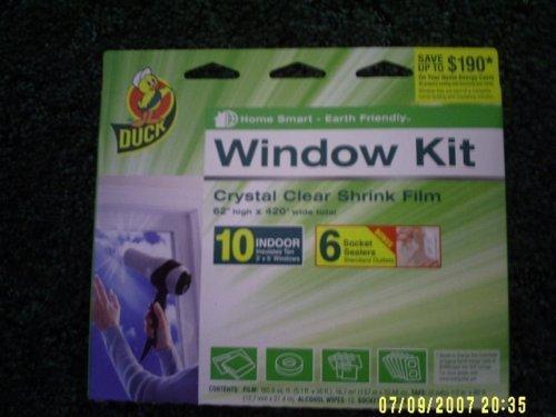 Duck Brand 62-Inch by 420-Inch 10-Window Shrink Film Window Insulator Kit & 6 Socket Sealers - Henkel Wrap