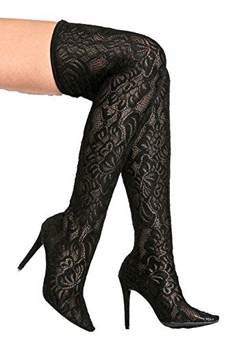 Anne Michelle Womens Dedicate Floral Stretch Over-The-Knee Pointy Toe Stiletto Boots Black phMz0b0