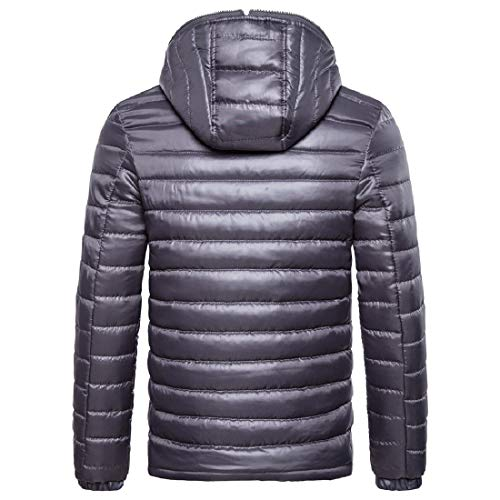 VITryst Mens Casual Lightweight Color Hoode Solid Down Grey Jacket Puffer Warm OwFrOq1