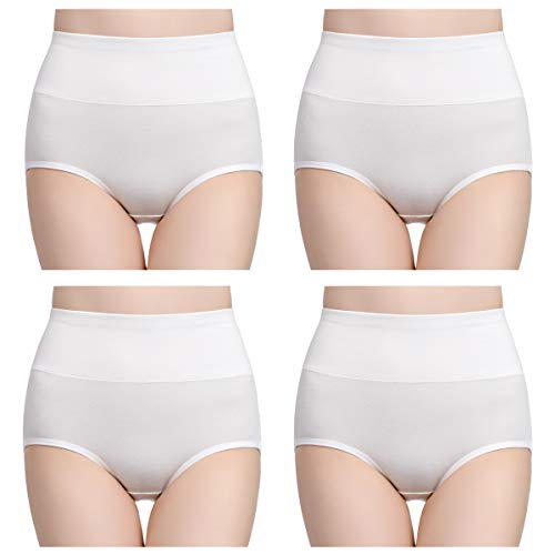 wirarpa Womens Cotton Underwear Panties High Waisted Full Briefs Ladies No Muffin Top Underpants 4 Pack White Size 7, Large
